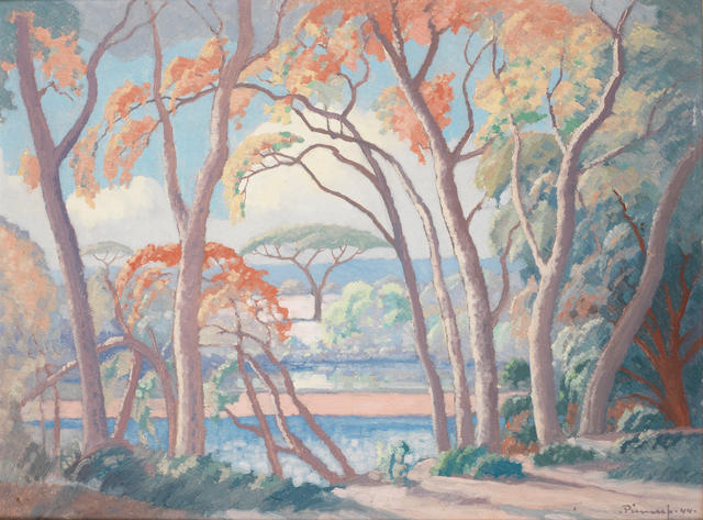Jacob Hendrik Pierneef (South African, 1886-1957) 'Msasa Trees, Olifants River'