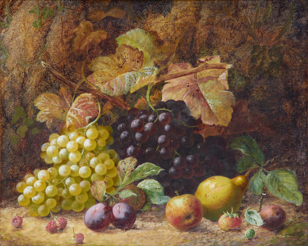Oliver Clare (British, 1853-1927) Still life of fruit on a mossy bank