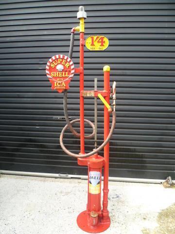 A Godwin type hand-cranked petrol pump,