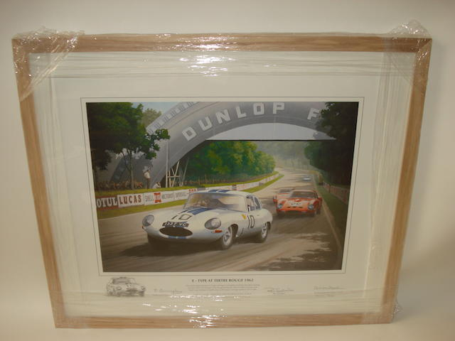 'E-Type At Tertre Rouge 1962' signed Artist Proof print after Keith Woodcock,