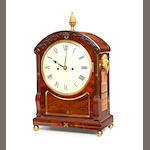 A Bracket Clock, mahogany, brass inlaid, Roman Dial