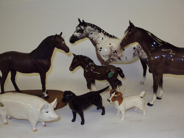 A collection of Beswick animal figures