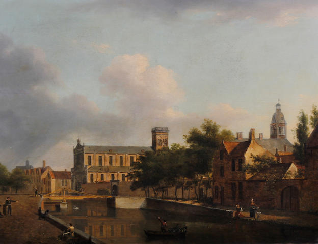 Follower of Jan van der Heyden (Dutch, 1637-1712) A Dutch townscene