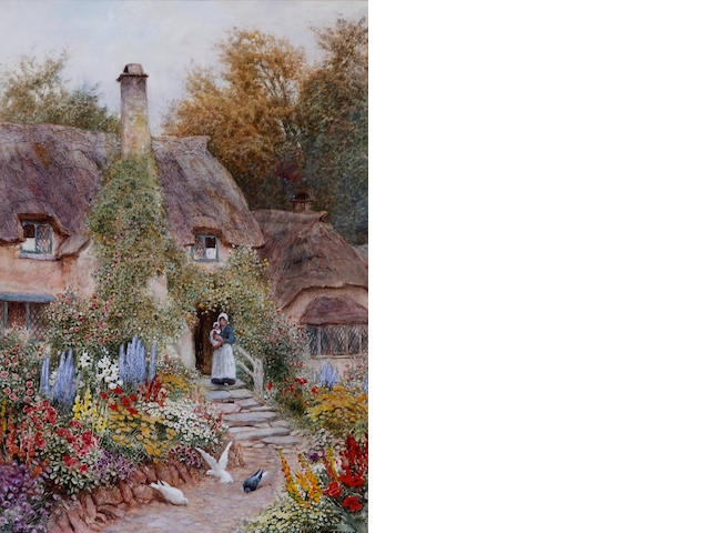 Arthur Claude Strachan (British, 1865-1938) Mother and child by a cottage doorway and garden