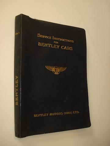 Service Instructions for Bentley Cars, Vol. 1,