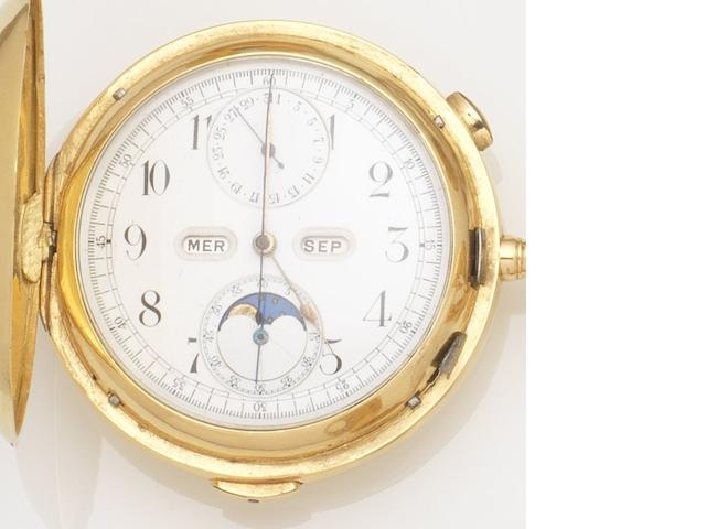 Swiss. An 18ct gold keyless wind full hunter pocket watch with short duration chronograph, quarter repeat, calendar and moonphase Movement No.258738, Birmingham Hallmark for 1898