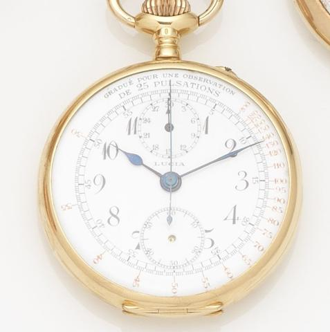 Swiss. An 18ct gold manual wind chronograph pocket watchCase No.90402, Movement No.167196, Circa 1920