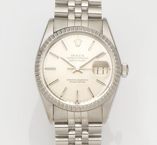 Rolex. A stainless steel automatic calendar bracelet watch Datejust, Ref:16030, Case No.5685***, Circa 1978