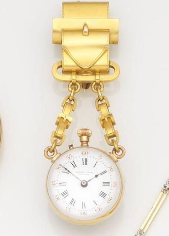 Henry Capt, Geneva. A gilt metal manual wind bulls-eye lapel watch with fitted boxMovement No.33567, Circa 1860