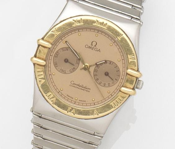 Omega. A stainless steel quartz calendar bracelet watch Constellation, Movement No.49504304, Circa 1990