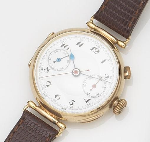 Swiss. A 9ct gold manual wind single button chronograph wristwatch Case No.314203, London Hallmark for 1928