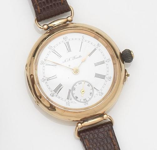 Swiss. A 14ct gold manual wind wristwatchCase No.76626, Circa 1915