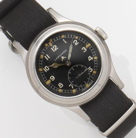 Longines. A stainless steel manual wind military wristwatch Ref:23088, Case No.4710, Movement No.6988526, Circa 1950