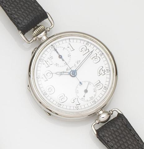 Henry Moser & Cie. A nickel cased single button chronograph wristwatch made for the Russian Market Case No.1169047, Movement No.110088, Circa 1905