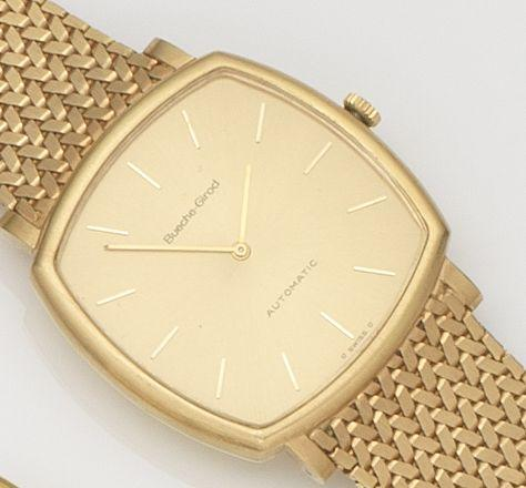 Bueche Girod. An 18ct gold automatic bracelet watch Ref:YG1203.1, Case No.100787, Circa 1970