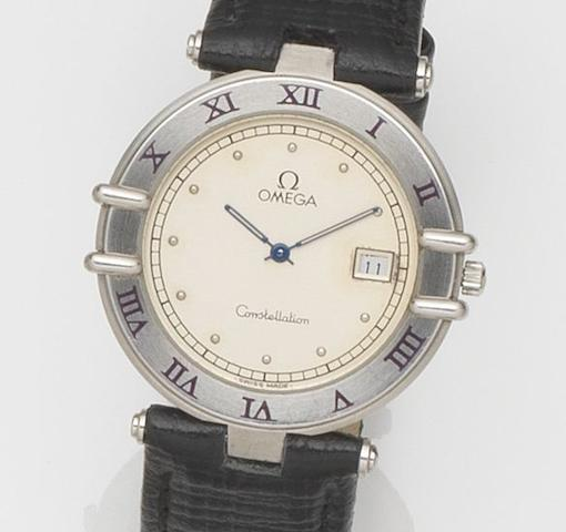 Omega. A stainless steel quartz calendar wristwatchConstellation, Case No.1960325, Circa 1990