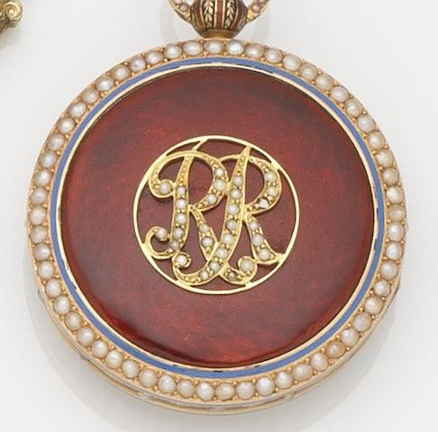 Mottu. A mid 19th century enamel and seed pearl set pocket watch with later dial Circa 1860