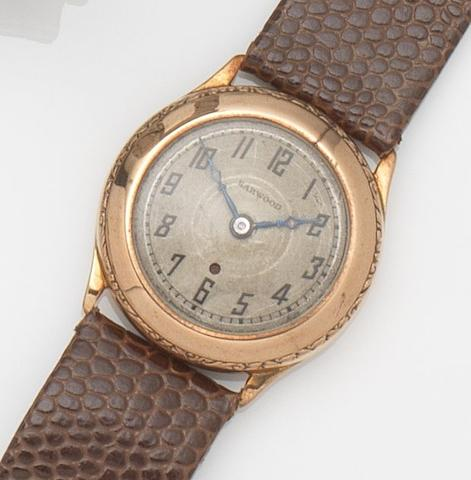 Harwood. A 9ct gold automatic wristwatch Case No.10363, Patent No.1576120, Glasgow Hallmark for 1928