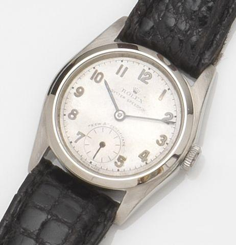 Rolex. A rare stainless steel manual wind wristwatch together with Kew A Certificate Oyster Speedking, Ref:5056, Movement No.4261, Circa 1940
