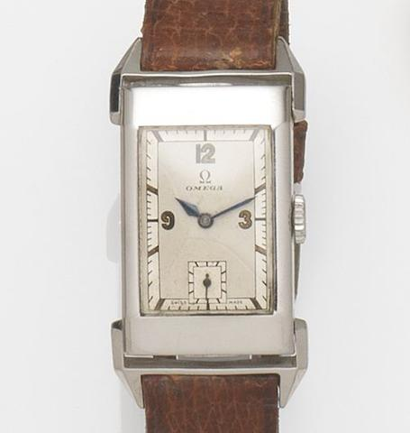Omega. A stainless steel manual wind rectangular wristwatch Case No.9043220, 1930's
