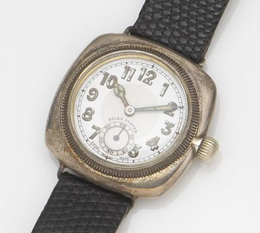 Rolex. A silver manual wind wristwatch Oyster, Ref:9250, Case No.9320, Glasgow Hallmark for 1929