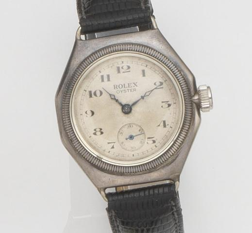 Rolex. A silver manual wind octagonal wristwatchOyster, Ref:1416, Glasgow Hallmark for 1927