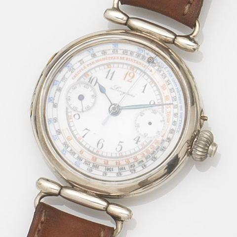 Longines. A nickel plated manual wind single button chronograph wristwatch Case No.2961942, Circa 1920