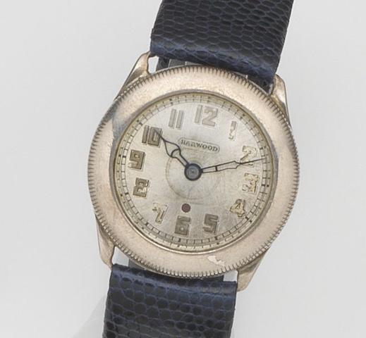 Harwood. A silver automatic wristwatch Case No.11623, Patent No.106583, Glasgow Hallmark for 1929