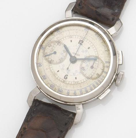 Jaeger. A stainless steel manual wind chronograph wristwatchCase No.50740, Circa 1940