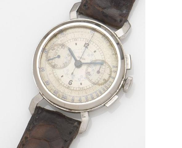 Jaeger. A stainless steel manual wind chronograph wristwatch Case No.50740, Circa 1940