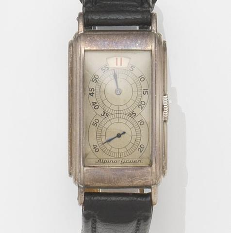 Alpina-Gruen. A nickel plated manual wind jumping hour wristwatch Case No.407226, Case No.1937861, Circa 1930