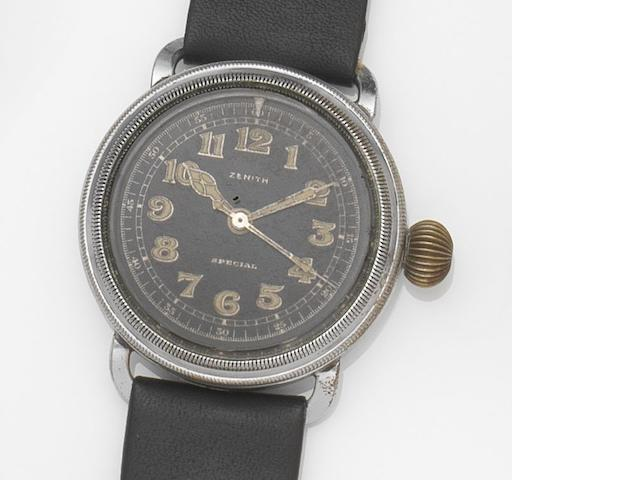 Zenith. A nickel plated oversized manual wind centre seconds pilot's wristwatch Special, Case No.8189417, Movement No.3006585, Circa 1930