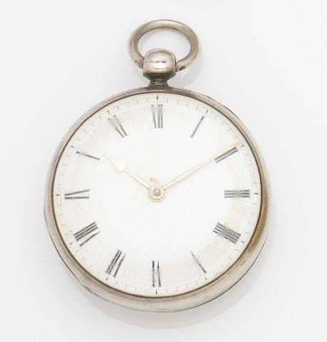 George Graham. A silver key wind open face pocket watchMovement No.5655, Circa 1735
