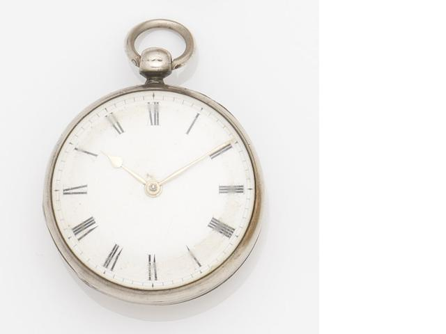 George Graham. A silver key wind open face pocket watch Movement No.5655, Circa 1735