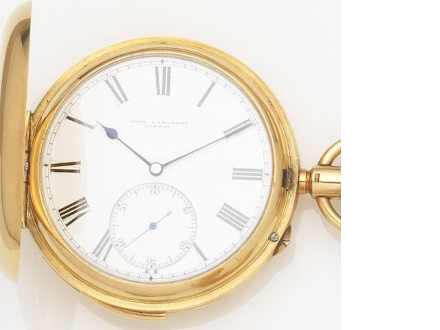 John Cashmore. An 18ct gold keyless wind full hunter five minute repeating pocket watch London Hallmark for 1875