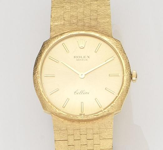 Rolex. An 18ct gold manual wind bracelet watch with box and papersCellini, Ref:3804, Case No.2415***, 1971