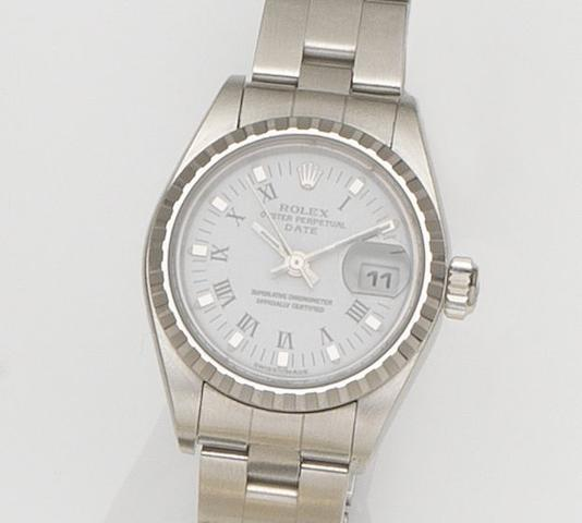 Rolex. A lady's stainless steel automatic calendar bracelet watch Datejust, Ref:79240, Case No.A437***, Movement No.0038***, Circa 1998