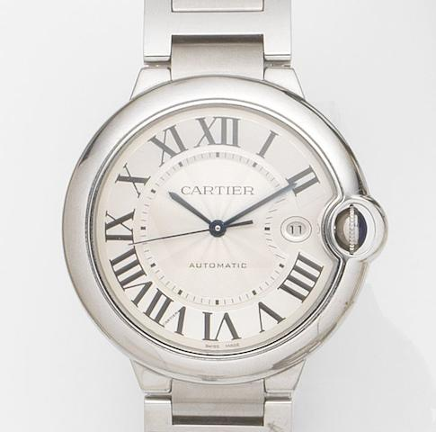 Cartier. A stainless steel automatic calendar bracelet watch Ballon Bleu de Cartier, Ref:W6901***, Case No.183399QX3***, Recent