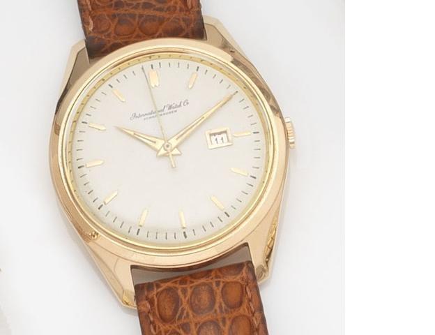 IWC. An 18ct rose gold automatic centre seconds calendar wristwatch Case No.81862, Movement No.1716218, Circa 1950