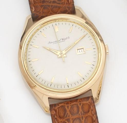 IWC. An 18ct rose gold automatic centre seconds calendar wristwatch Case No.81862, Movement No.1716218, Circa 1950