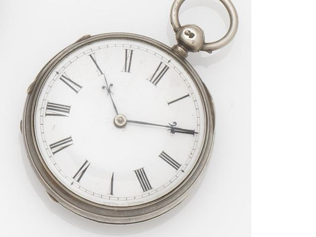 Vuilliamy. A silver open face pocket watch in later case Circa 1795