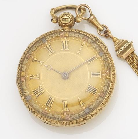 Bracebridges, London. An 18ct gold open face key wind pocket watch together with a fob chain and two keys Case and Movement No.8620, London Hallmark for 1825