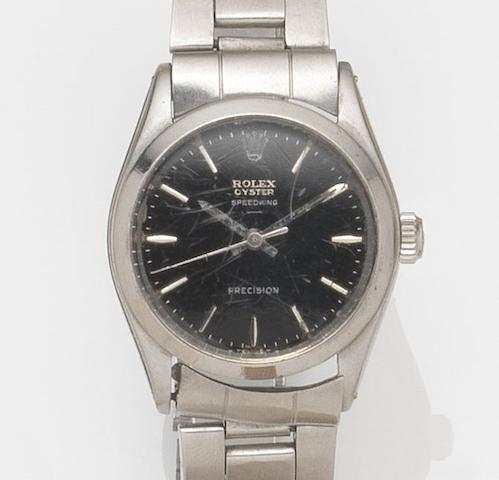 Rolex. A stainless steel manual wind centre seconds bracelet watchSpeedking, Ref:6430, Case No.906***, Movement No.26***, Circa 1953