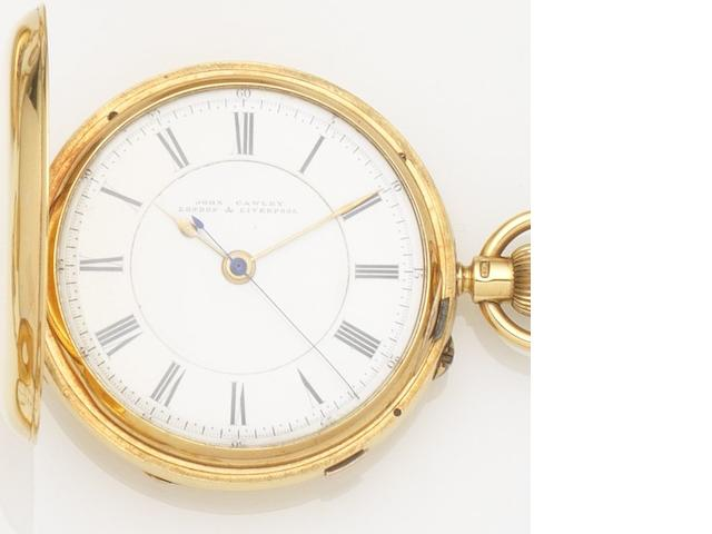 John Cawley. An 18ct gold keyless wind full hunter pocket watch Case and Movement No.10183, Chester Hallmark for 1898