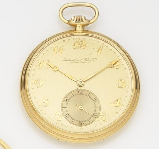 IWC. A 14ct gold open face keyless wind pocket watchCase No.954189, Movement No.927113, Circa 1930