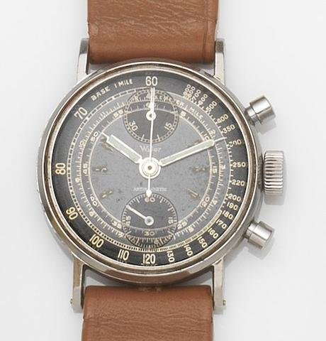 Wyler. A stainless steel manual wind chronograph wristwatch Circa 1940