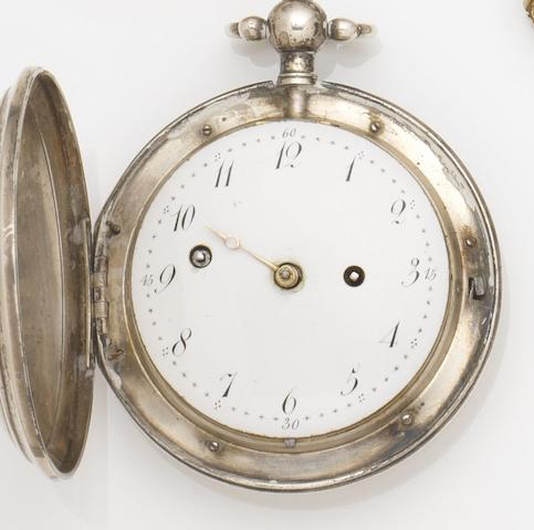 Radzinkski. A mid 19th century silver full hunter pocket watch with alarmCirca 1850