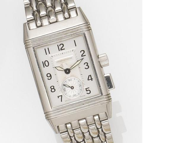 Jaeger-LeCoultre. A stainless steel manual wind reversible bracelet watch with 60 minute timing function with box and papers Reverso Memory, Ref:255.8.82, Case No.1954889, Circa 2000