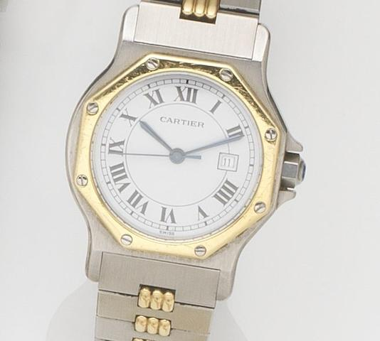 Cartier. A stainless steel automatic calendar bracelet watchSantos, Case No.296635097, Circa 1990