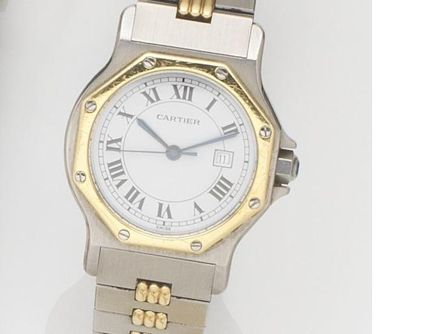 Cartier. A stainless steel automatic calendar bracelet watch Santos, Case No.296635097, Circa 1990